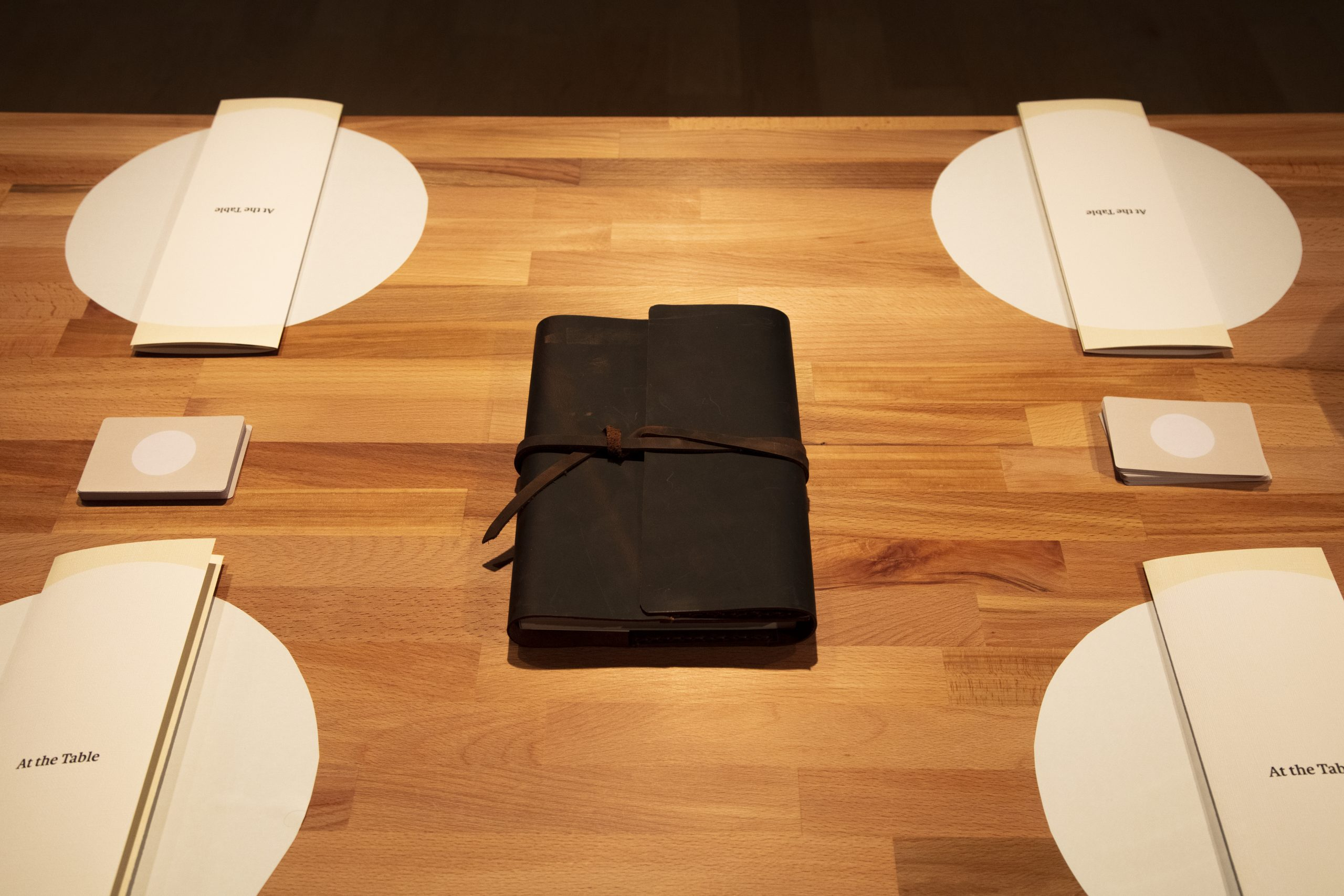 leather cover on table